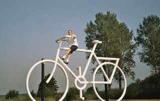 White Bike Sharing Sculpture in Holland