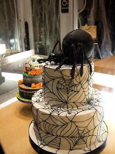 Black Spider Halloween Cake