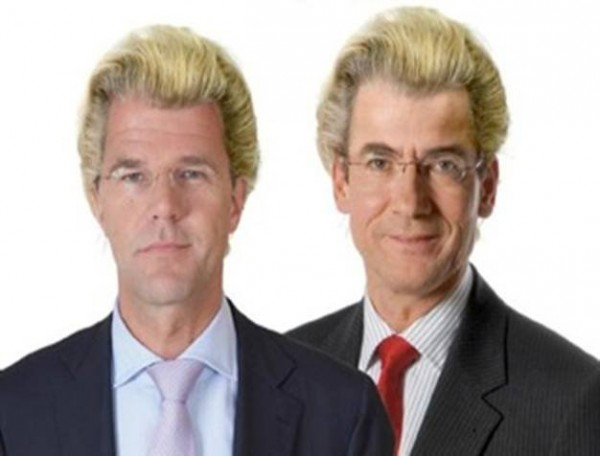 Rutte and Verhagens with Wilders Hairdo